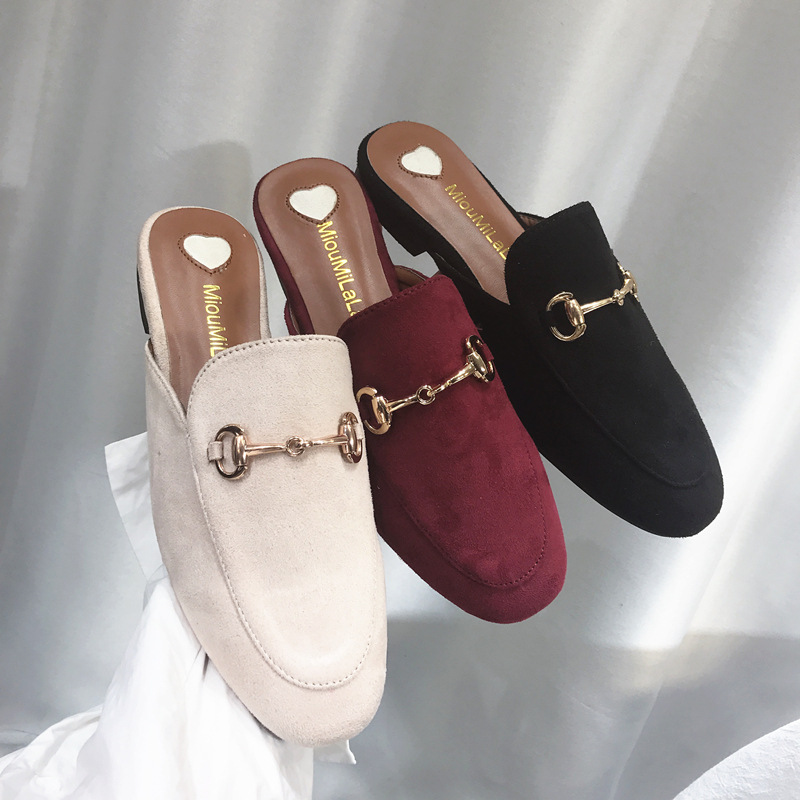 2019 New Style Korean-style Online Celebrity Slipper Women's Suede Closed-toe Slipper Chunky-Heel Buckle Casual Loafer Students
