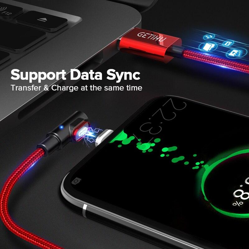 GETIHU 2.4A Быстрый Магнитный кабель для iPhone XS X XR 7 Micro USB быстрое зарядное устройство Тип C магнит Android шнур телефонный кабель для samsung