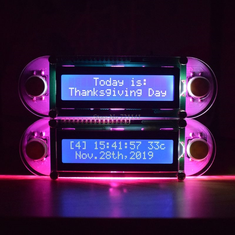 LCD1602 Vibration Clock DIY Kit Candlelight Effect DIY Electronic Digital Clock Set With Bright Pink LED For DIY Dropship