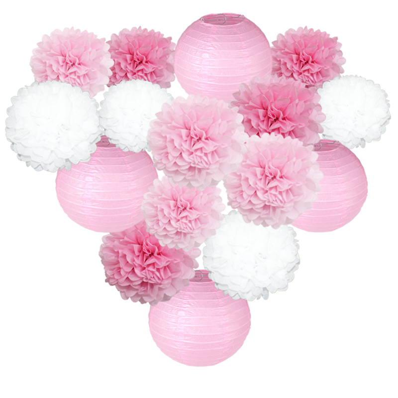 1set Pink Blue Red Lampion Chinese Round Paper Lantern Paper Flower Ball Pom Pom For Wedding Birthday Party Hanging Decoration