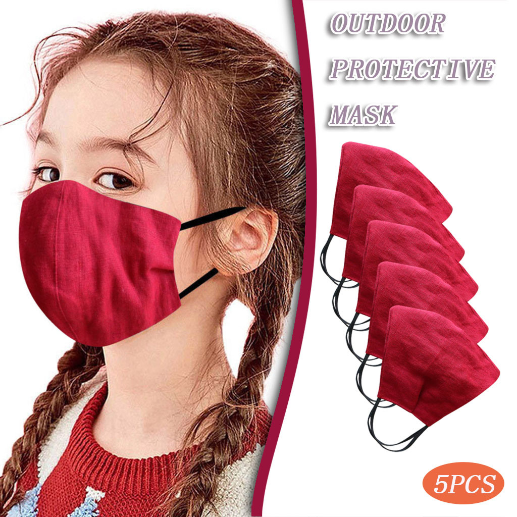 5/6PC Linen Children Windproof PM2.5 Face Mask face shield Masque Face Mask Cloth Facial Maseczka Ochronna Masque
