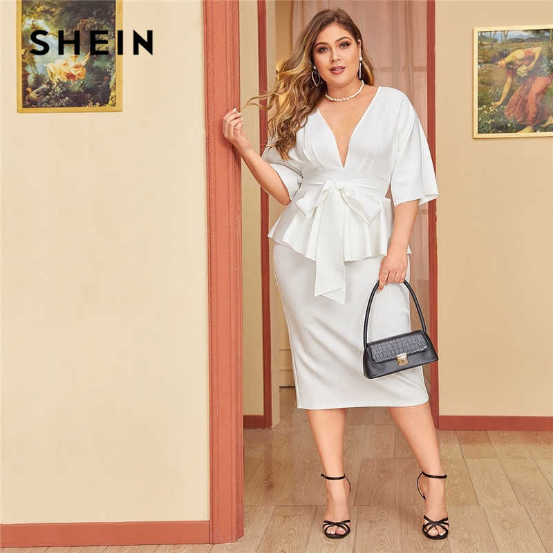 SHEIN Plus Size White Plunging Neck Dolman Sleeve Tie Waist Peplum Dress Women Solid High Waist Slit Bodycon Elegant Dresses