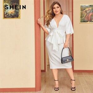 Image 1 - SHEIN PLUS ขนาดสีขาว Plunging คอ Dolman Sleeve Tie เอว Peplum ชุดผู้หญิงสูงเอว Bodycon Elegant Dresses