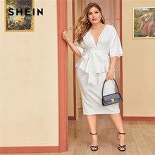 SHEIN حجم كبير الأبيض تغرق الرقبة دولمان كم التعادل الخصر بيبلوم فستان المرأة الصلبة عالية الخصر شق Bodycon ثوب أنيق