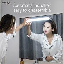 Wanhuo Lámpara LED de mesita de noche para el hogar, lámpara de espejo portátil, de inducción, sin perforación