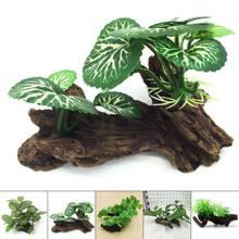 Tartaruga artificial árvore do porta-malas, tanque de aquário, cilindro para fazer raízes, decoração de madeira para plantas
