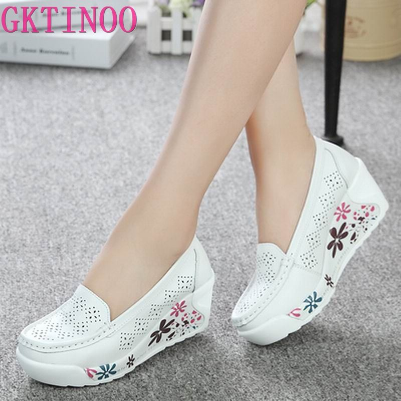 GKTINOO New Women's Genuine Leather Platform Shoes Wedges White Lady Casual Shoes Swing mother Shoes Size 35 40