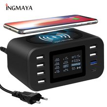 Cargador inalámbrico Qi, estación de carga rápida 3,0, 60W, para Samsung S9, S8, Mi, Nexus, LG, Sony, Moto, Nokia, QC3.0, adaptador de corriente