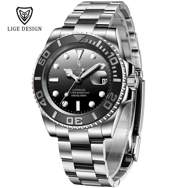 NEW LIGE Design Men Automatic Watch Sapphire Luxury Mechanical Wristwatch Stainless Steel Waterproof Watch Men Mekaniska klockor|Mechanical Watches| - AliExpress
