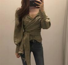 Новинка 2020 осенняя рубашка для женщин Элегантная Модная однотонная