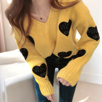 Women Knitted Sweater and Pullovers V-neck Embroidery Sweaters Sweet Heart Patch Jumpers Long Sleeve Kawaii Sexy Pull tops Femme women oversized sweater and pullovers oneck sweet heart letters printed pull jumpers long sleeve pink streetwear knit tops