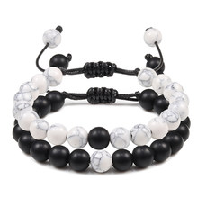 New Couples Distance Men Women Bracelet Ying Yang Natural Stone Beads Woven Bracelets Bangles Handmade Jewelry Friendship Gifts(China)
