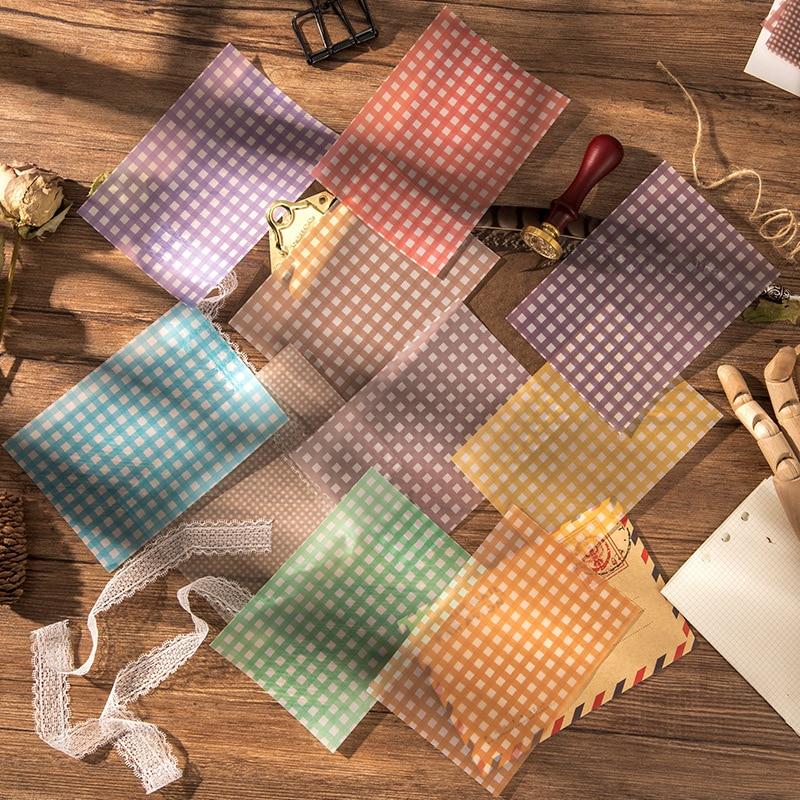 8 Pcs/set Translucent Sulfuric Acid Paper Grid Patern Watercolor Grid Decorative Paper Diary Journal Ablum DIY Material Paper