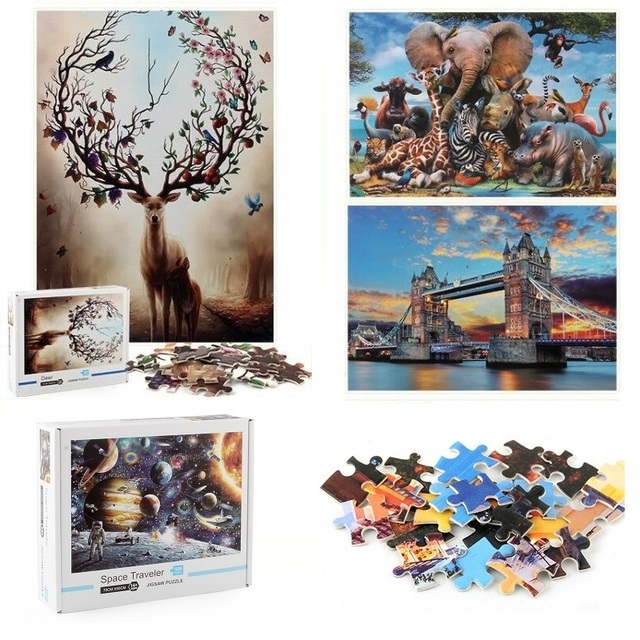 Jigsaw Puzzles 1000 Pieces Wooden Assembling Picture Space Earth World Landscape Puzzles Toys For Adults Children kids Home Game 2
