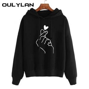 Oulylan Women Hoodies Casual Print Solid Loose Drawstring Sweatshirt Ladies Long Sleeve Hooded Autumn Female Pullover