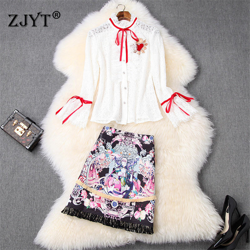 2020 Spring Lady Runway Skirt 2Piece Set Women Office Outfits Flare Sleeve Embroidery Lace Top And Print Tassel Skirt Suit Sets