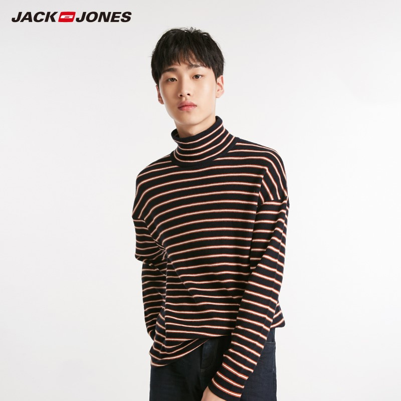 JackJones Winter Men's Turtle Collar Stripe Long Sleeve Sweater 218424521