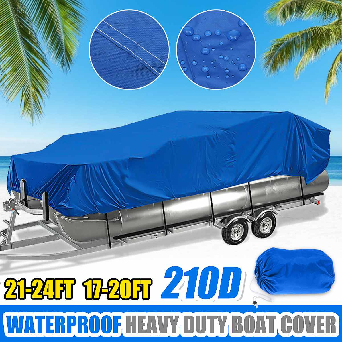 17-20Ft 21-24Ft Heavy Duty 210D Waterproof Pontoon Boat Cover Fish Ski Beam
