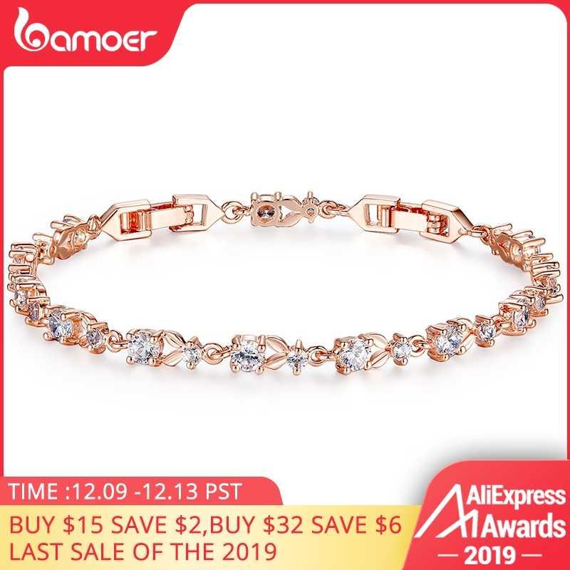 BAMOER 6 צבעים יוקרה עלה זהב צבע שרשרת קישור צמיד לנשים גבירותיי הניצוץ AAA מעוקב זירקון קריסטל תכשיטי JIB013
