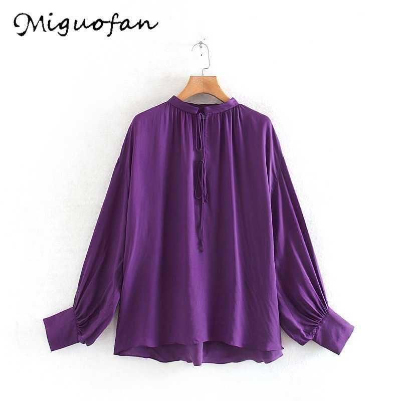Huaxiafan Wanita Blus Warna Solid Renda Atasan Kasual Wanita Lengan Panjang Pullover Kemeja Longgar Wanita Pakaian Kantor Musim Gugur Fashion