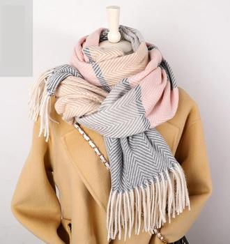 2020 Winter Scarf For Women Shawls Wrap Fashion Plaid Warm Thick Cashmere Scarves Lady Pashmina