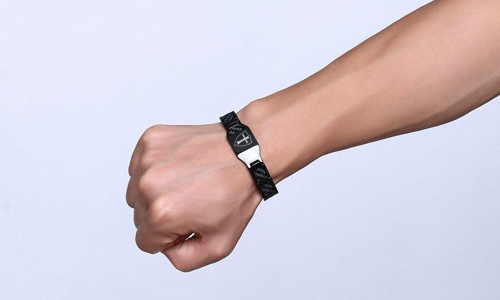 Carbon Fiber Knights Templar Shield Magnetic Bio Energy Bracelets for Men