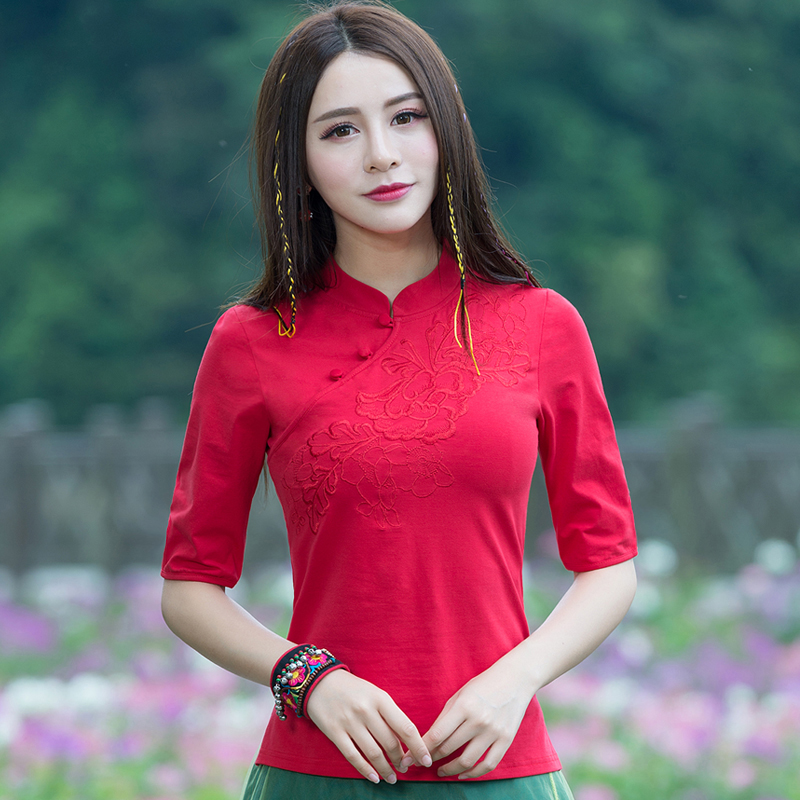 Spring Summer New Ethnic Style Women Embroidery Retro Female Lady Chinese Style Half Sleeve Slim Large Size Button T-shirt Tops