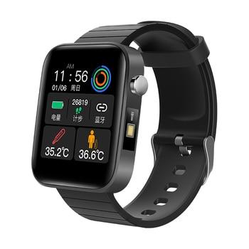 2020 NEW T68 Smart Watch Men Body Temperature Measure Heart Rate Blood Pressure Oxygen Bracelet Call Reminder Smart Watch Black makibes x5plus smart watch black