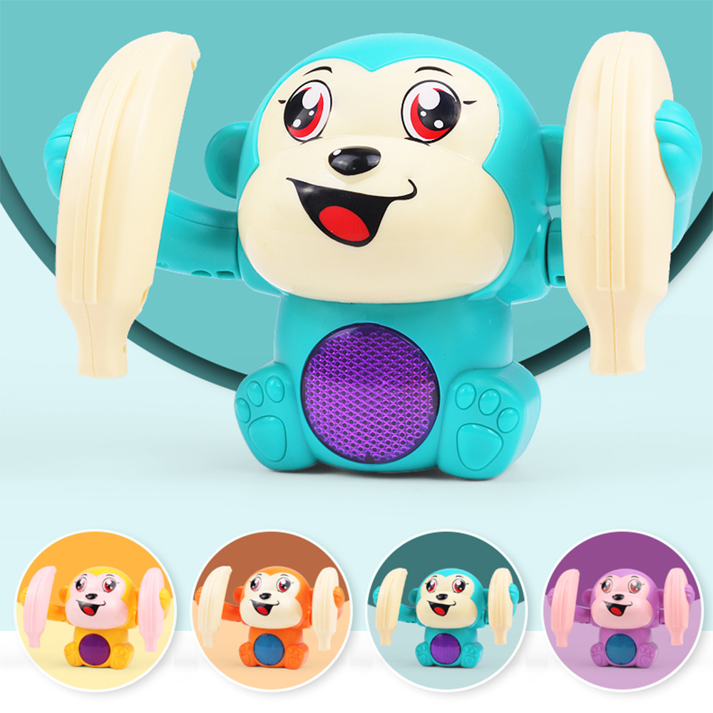 BYY Baby Voice Control Rolling Little Monkey Toy Walking Singing Brain Game Crawling Electric Toy Boy Girl Gift