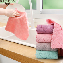 2pcs/lot Household Super Absorbent Microfiber Towel Non-stick Oil Kitchen Cleaning Cloth Dish Cloth