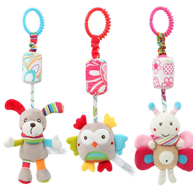 Baby Stroller Sound Toys Hanging Bell With Hook Children Grasp Development Plush Toys Set Musical Crib Mobiles Pink Rabbit Shape 1PC
