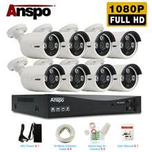 Anspo h.265 8ch 5.0mp hdmi poe nvr kit cctv sistema de segurança 2.0mp ir ao ar livre gravação de áudio câmera ip p2p vídeo vigilância conjunto