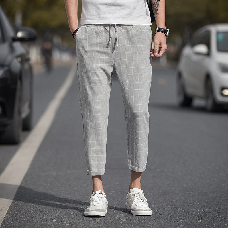 Casual Ankle-Length Plaid Pants Men Trousers Streetwear Jogger Pants Men Sweatpants Slim Fit Men Pants 2020 New 1