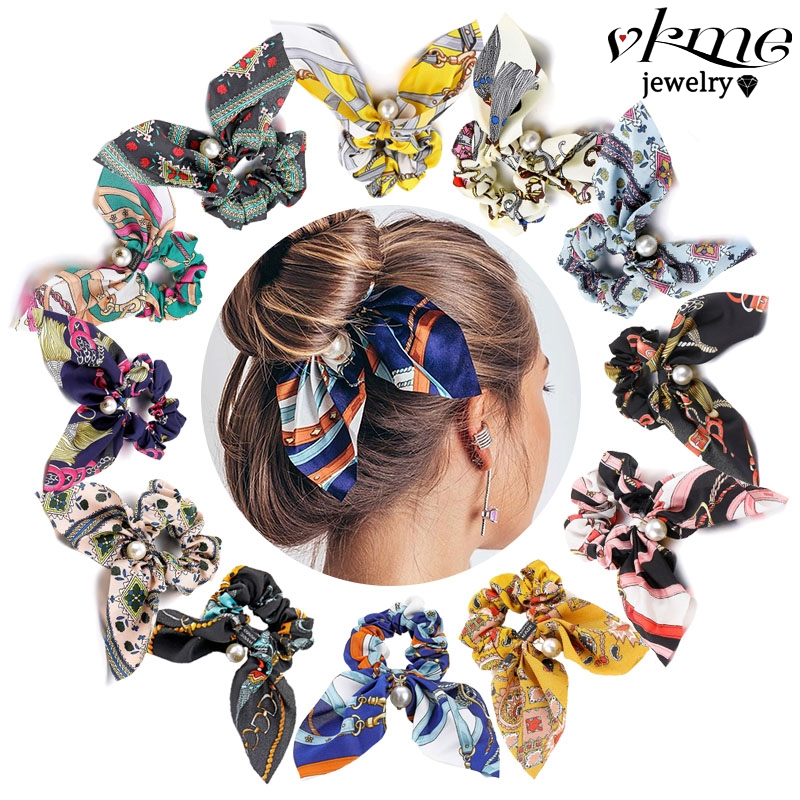 Fashion Bow-knot Floral Elastic Hair Band Big Bow Ribbon Elastic Hair Bands Rubber For Women Girls Ladies Cute Hair Accessories