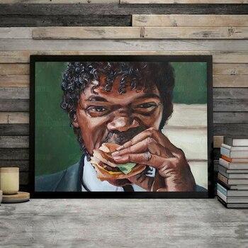 Jules Eats A Big Kahuna Burger Pulp Fiction Wall Art Printed on Canvas 1
