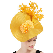Желтый трубочка для коктейля шляпа диск чародей millinery sinamay перо Винтаж чай вечерние шляпа искусственный цветок украшение головной убор