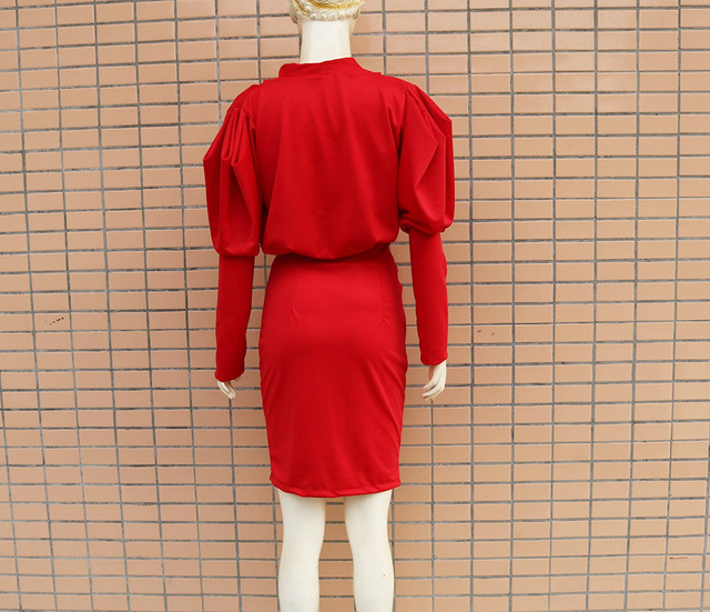 Europe and the United States new v-neck bubble long sleeve package hip fashion cultivate one's morality dress 4