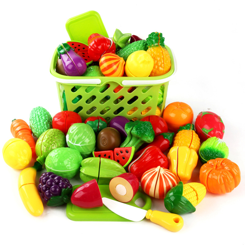 New Cutting Fruit Vegetable Toy Pretend Play Kitchen Toys Play House Miniature Plastic Cooking Food Kids Girls Educational Gift