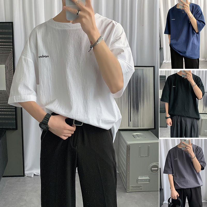2020 Men's Linen Cotton Material Short Sleeve T-shirt Solid Color Letter Embroidery Loose T Shirt Streetwear 4 Color Tshirt