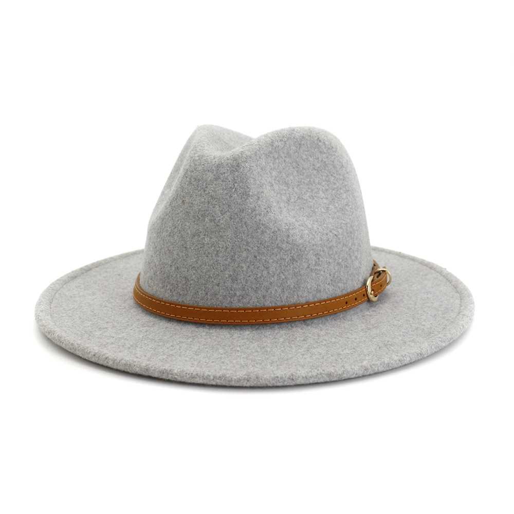 Unisex Wide Brim Simple <font><b>Church</b></font> Derby Top Hat Panama Solid Color Felt Fedoras Hat for artificial wool Blend Jazz Cap HF95 image