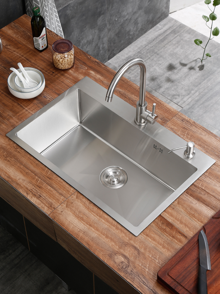 Manual Sink 304 Stainless Steel Hand Basin Thickening Dishwashing Kitchen Sink Washing Vegetables Sink Single Slot