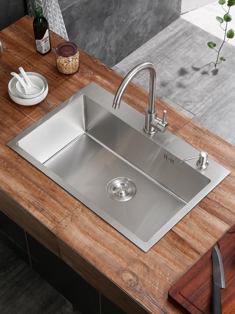 Manual Sink 304 Stainless Steel Hand Basin Thickening Dishwashing Kitchen Sink Washing Vegetables Sink Single Slot