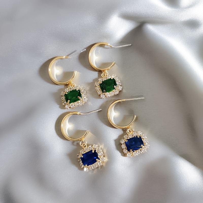 Женские Висячие серьги с голубыми кристаллами, модные геометрические серьги-подвески с кристаллами, ювелирные изделия, 2019