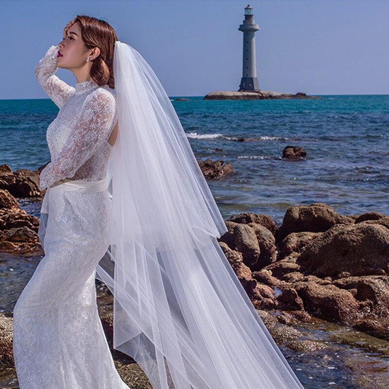 Купить настоящее фото 2020 дешевая фата waltz обрезанная белая длинная