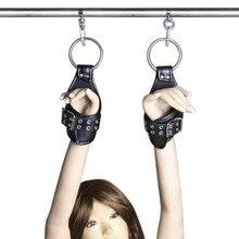 Секс-товары для взрослых черно-белые с узором кожаные Висячие наручники с завязками Связывание Мелодия флирт секс-игрушки оптом