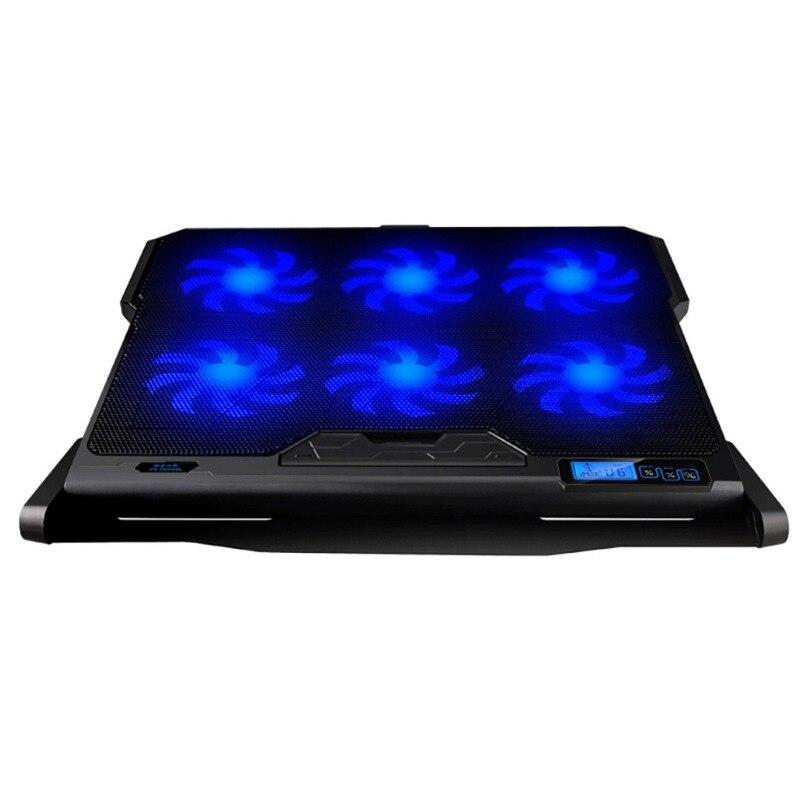 Écran de plaque de refroidissement pour ordinateur portable Ultra mince 2 USB 6 ventilateur d'air support de refroidisseur réglable en hauteur