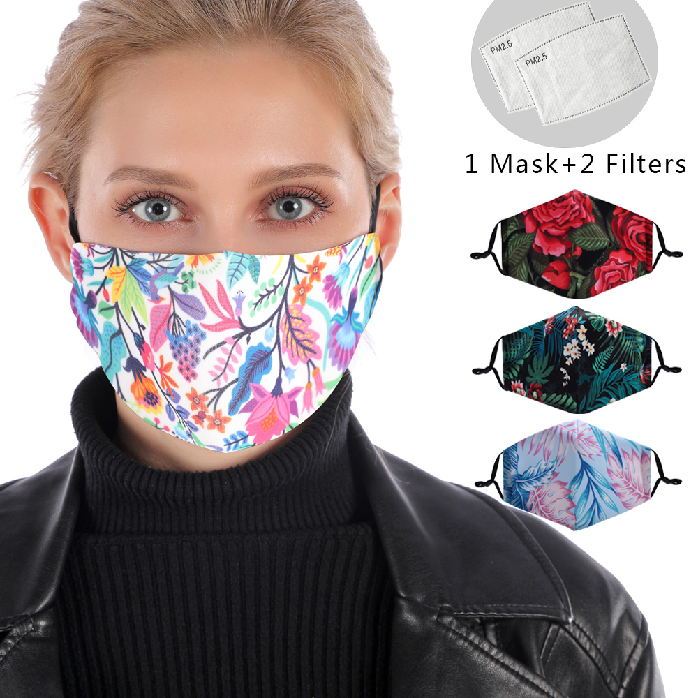 3D Print Flower Reusable Mouth Mask Washable Protective PM2.5 Filter Mask Fashion Anti Dust Face Mask Windproof Anti Flu Mask