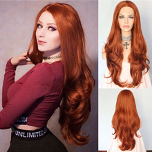 BeautyTown Orange Red Color Glueless Heat Resistant 150% Density Hand Tied Lace Part Masquerade Daily Synthetic Lace Front Wigs