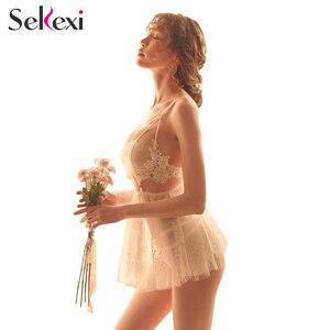 Image 4 - Frauen Sexy Dessous + Höschen Nachthemd Set Damen Sexy Dessous Heiße Erotische Nachtwäsche Babydoll Sexy Unterwäsche Nacht Kleid