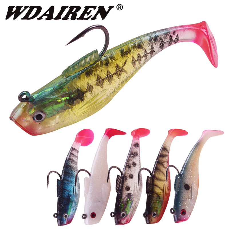 1Pcs T Tail Fish Jig Wobbler Fishing Lure 3.5g/11.5g With Lead Head Hook Soft Lure 3D Eyes Lures Bass Artificial Rubber Baits